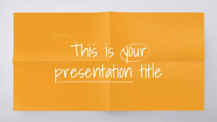 Free playful Powerpoint template or Google Slides theme for education with folded paper