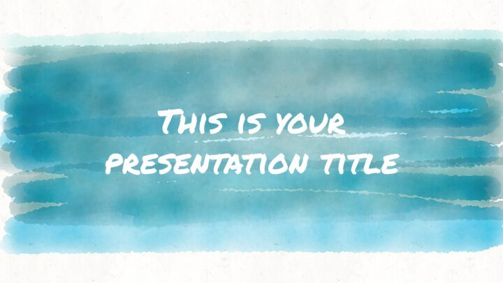 Free artsy and playful Powerpoint template or Google Slides theme with watercolors