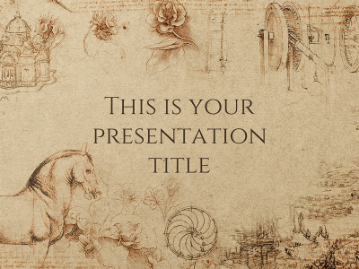 Free powerpoint templates and google slides themes for presentations with a textured paper background leonardo da vincis drawings and classic typography this template conveys a historical feeling toneelgroepblik Choice Image