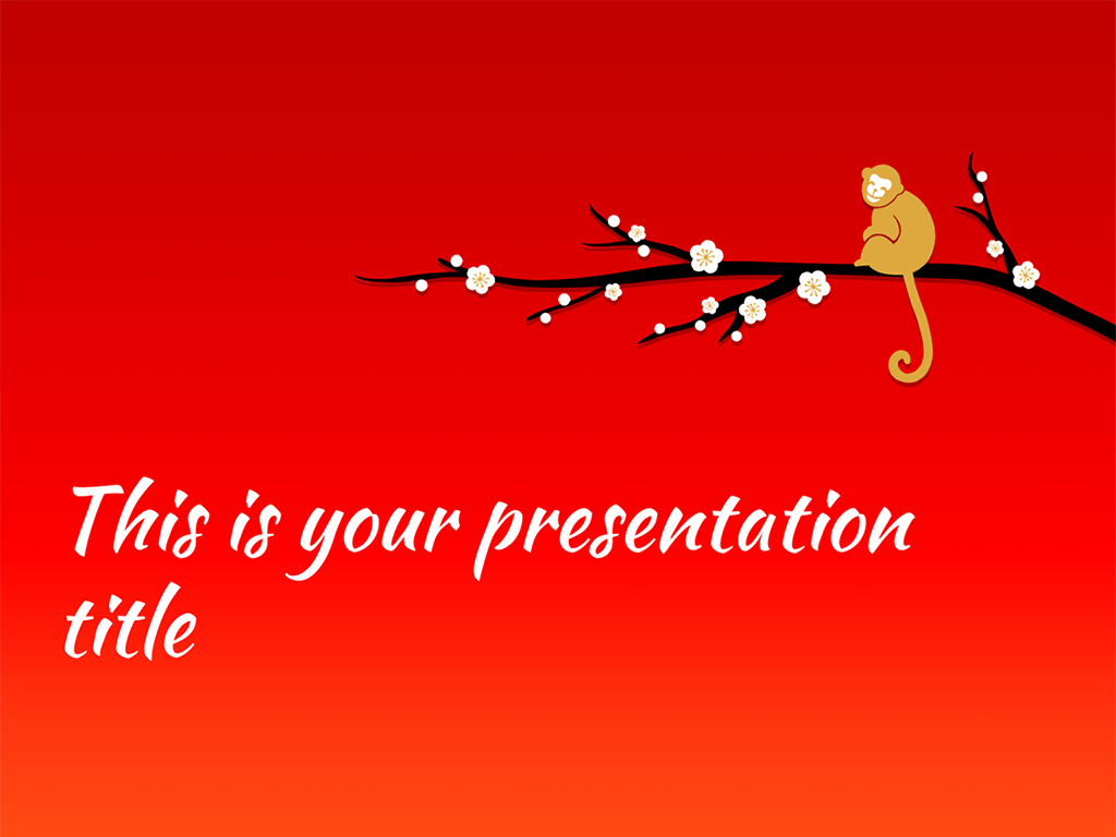 free powerpoint template or google slides theme for chinese new year 2016 the monkey