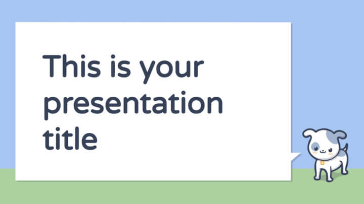 Free cute presentation for children - Powerpoint template or Google Slides theme with pets