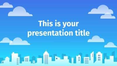Free Powerpoint template or Google Slides theme with illustrated city background