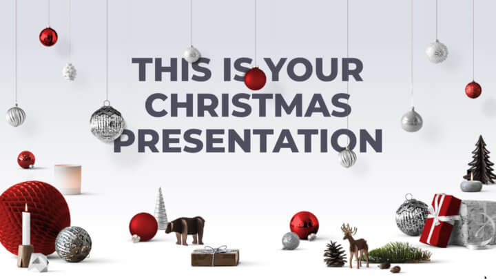 Free Christmas Powerpoint template or Google Slides theme red and chic