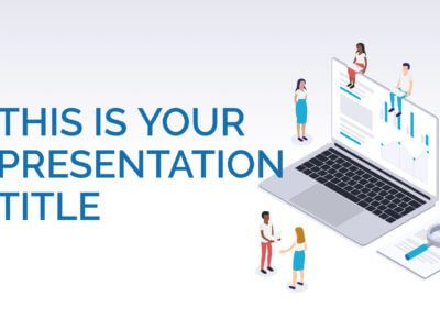 Free marketing Powerpoint template or Google Slides theme with isometric illustrations