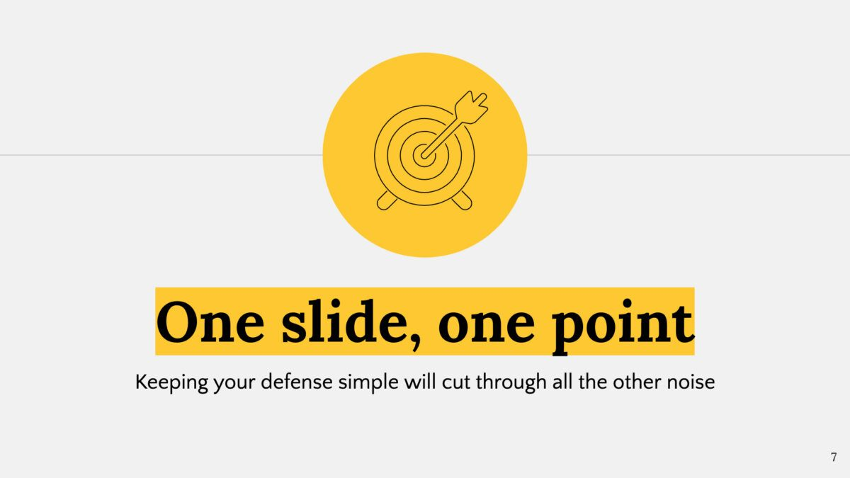 "Gray presentation slide with icon over yellow circle and message ""One slide, one point"""