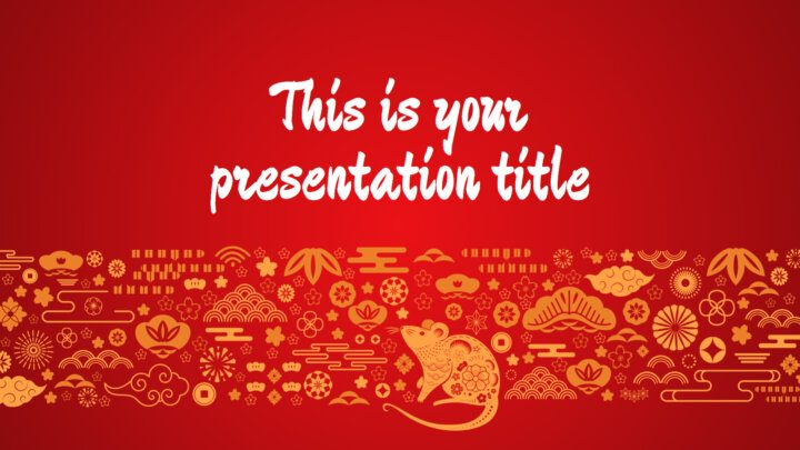 Free Powerpoint template or Google Slides theme of Chinese New year of the Rat