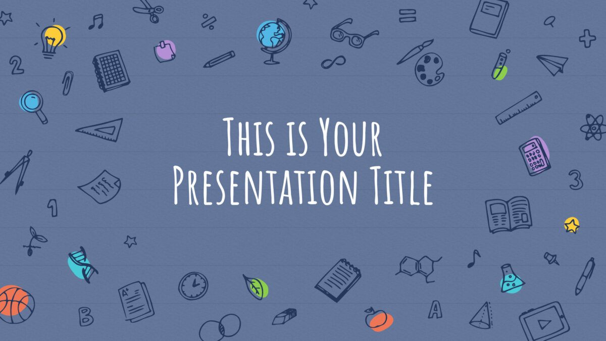 Free educational Powerpoint template or Google Slides theme with sketchnotes
