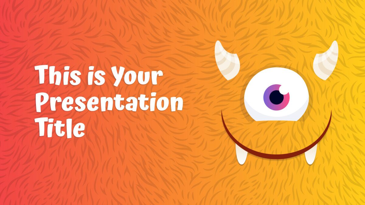 Free playful PowerPoint template and Google Slides theme with monsters for kids