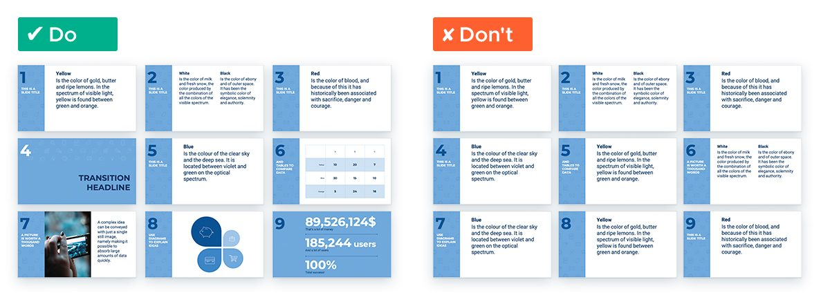 6 Easy Tricks for Designing a Text-heavy Presentation: Vary Layouts