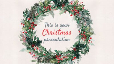 Free Christmas Powerpoint template and Google Slides theme with winter foliage
