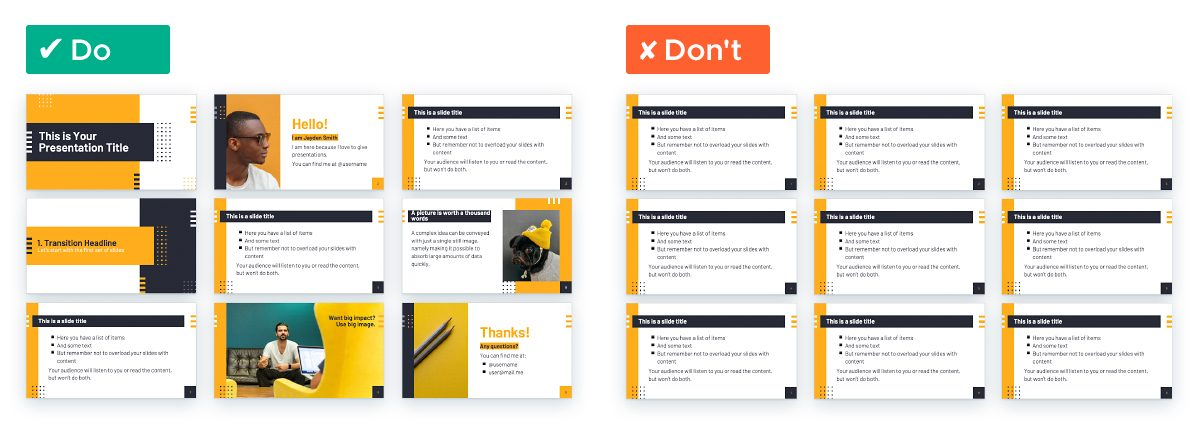 How To Turn A 'Boring' PowerPoint Into An Engaging Presentation - Vary layout