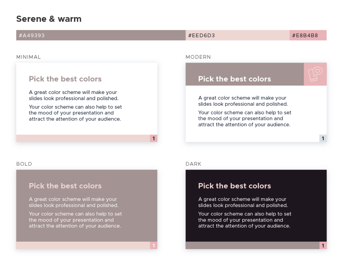 Color scheme for presentations - Serene and warm