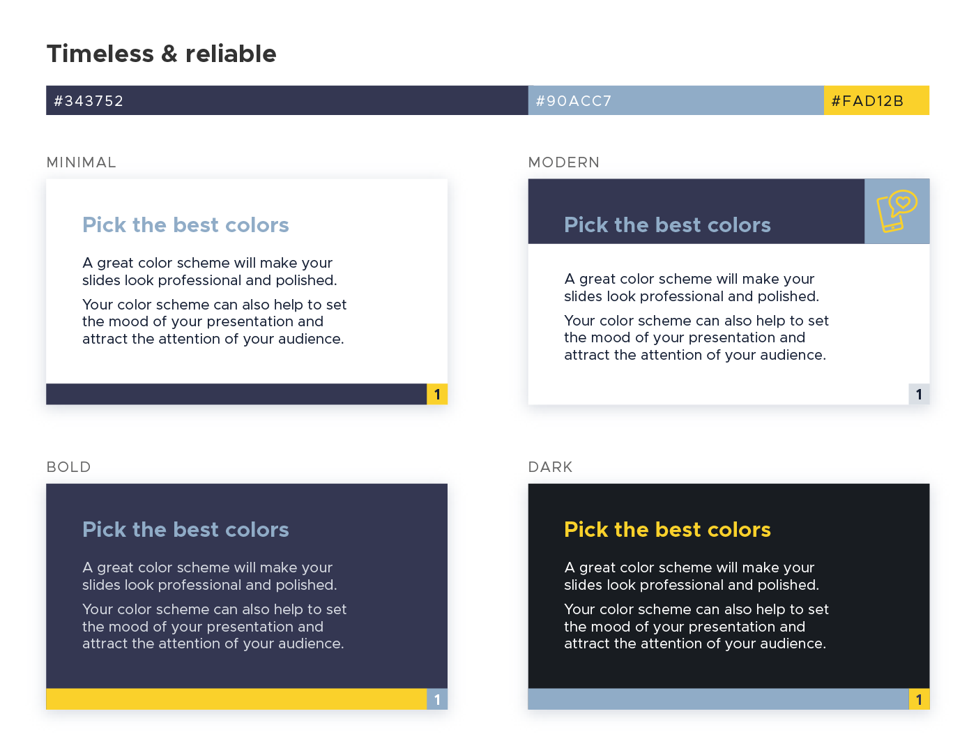 Color scheme for presentations - Timeless and reliable