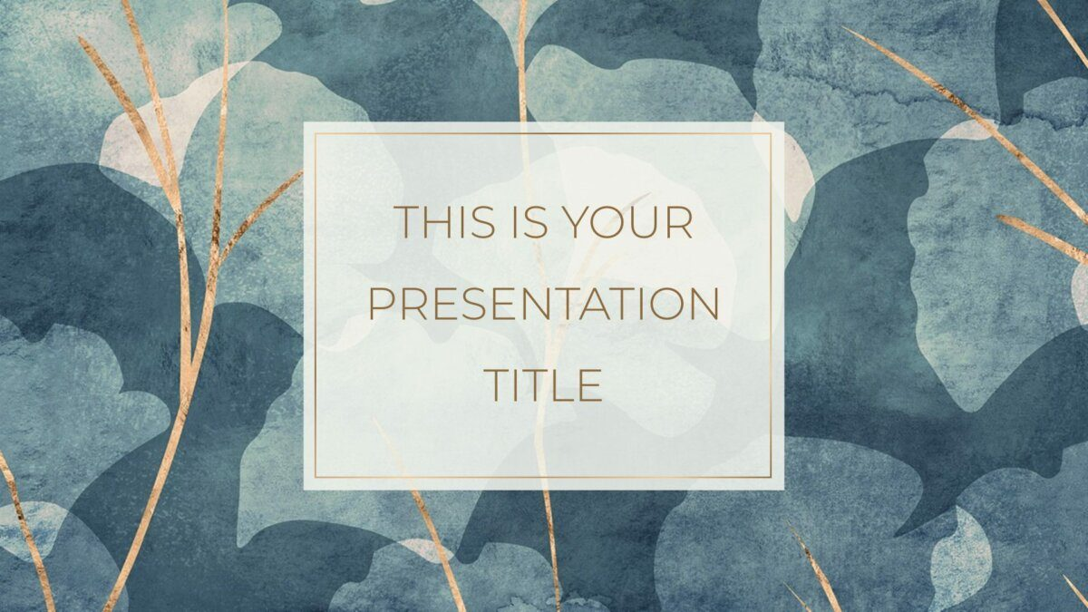 Free elegant Powerpoint template and Google Slides theme with blue and gold nature backgrounds