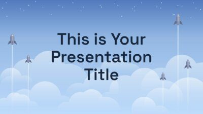 Free illustrated Powerpoint template or Google Slides theme with rockets taking off
