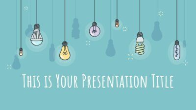 Free educative Powerpoint template or Google Slides theme with lightbulbs